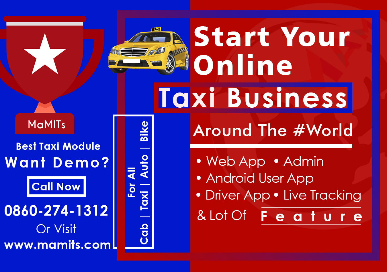 Taxi, Cab Booking App Development- Taxi-Cab Business Solution -MaMITs