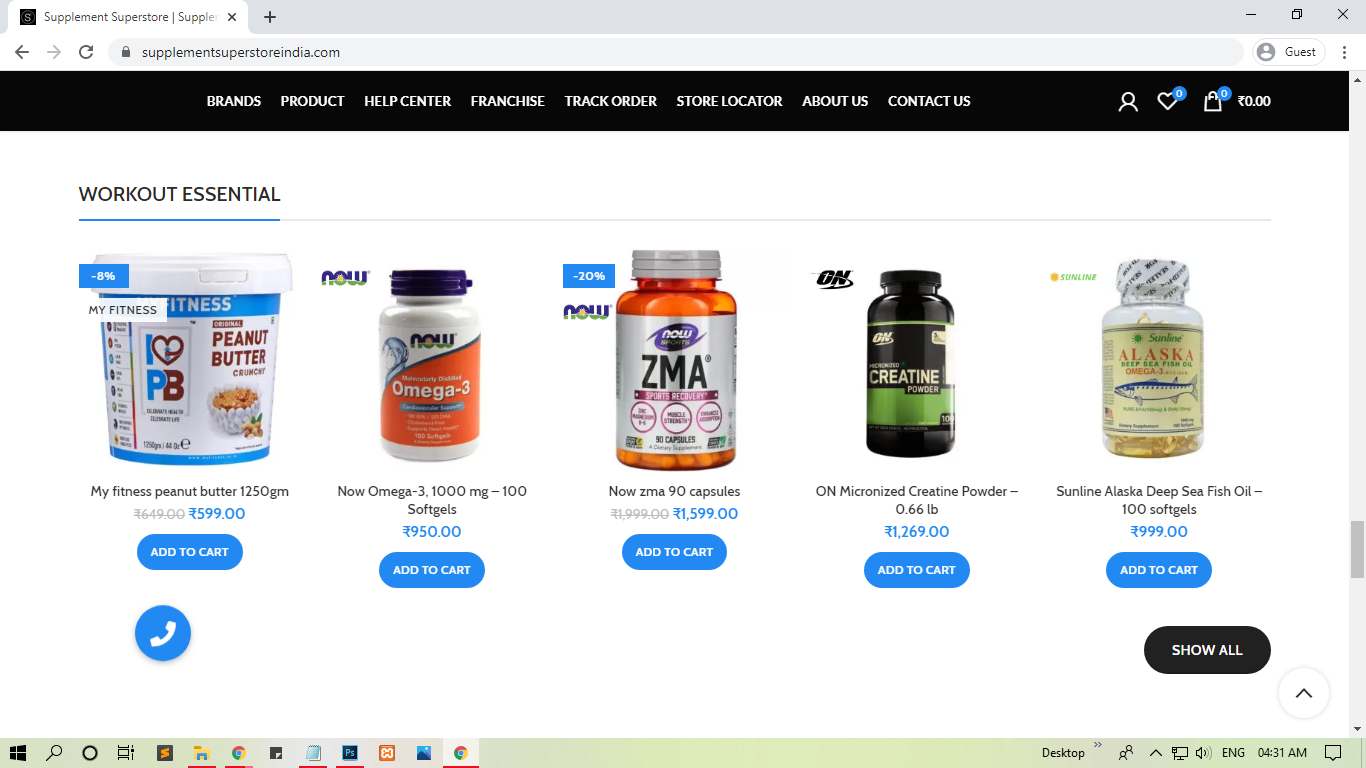 Ecommerce Website Development company in bhopal- Supplement superstore
